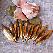 Batch old French copper leaves ( 10 )  : Parisian attic find : projects
