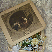 Decoratve French Christening box filled with ceramic flowers : roses : forget me nots : doll projects