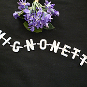 Vintage French repousse aluminium monogram letters : MIGNONETTE :  doll projects : old shop stock :