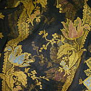 Striking 19th C. French rare black sheer fabric: tulip floral motifs : + 5 yards