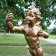 Charming antique French spelter Cherub : Putti former ceiling light : bed canopy