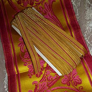 Vintage French gold metallic  trim braid trim : fuchsia stripe : + 8 yards