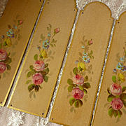 4 faded grandeur French vintage hand painted metal door plates : rose florals foliage motifs
