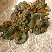 Imposing 19th C. French gilt bronze  floral bouquet embellishment hook cover : rose bud : lilac : ribbon bow