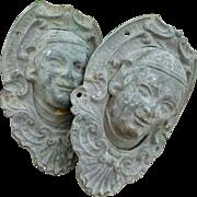 2 decorative 19th C. French bronze billiard table corner pockets: mascarons : projects