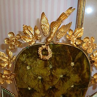 19th C. French ormolu green velvet boudoir wedding cushion display stand : wax piece : dove