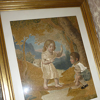 Charming 19th C. French silk & chenille embroidery depicting children at play : hand painted motifs