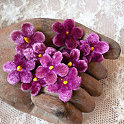 Batch late 19th C. French  tiny velvet violet millinery flowers : unused : doll projects ( 10 )