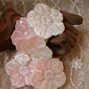 Batch late 19th C French pink velvet millinery flowers : unused : dolls projects  ( 5 )