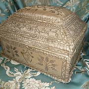Exceptional 18th C. French silk wedding marriage box : monograms : silver metallic embroidery : Count X