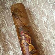 Decorative antique French billet doux : document holder : bucolic romantic scene : Vernis Martin