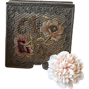 Faded grandeur French boudoir hanky case : hand embroidery : metallic trim : extendable