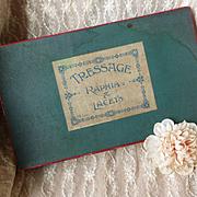 Child's French Etrennes presentation box : TRESSAGE  Raphia and Lacets : original shop label