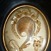 Sentimental French hair art mourning memento : pansy : dated 1878 ( No. 1 )