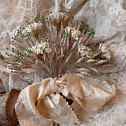 Unusual 19th C. French bride's silver wire work wedding bouquet : artificial flowers : beads : bow