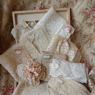 10 delicious flounces 19th C. French ecru lace : floral foliage motifs : original shop labels : unused