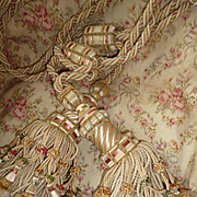 2 pairs splendid 19th C. French silk drape tassel tie backs : pink  green  champagne colors