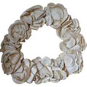 Faded grandeur vintage French cream silk rose flower communion crown