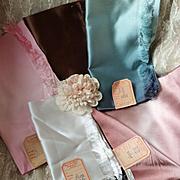 Batch French silk fabrics : original labels : Parisian soierie : 1900's : doll projects ( 5 )