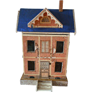 Charming rare antique Morizt Gottschalk blue roof dolls house