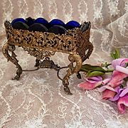 Ornate 19th C. French brass miniature furniture : ideal fashion doll accessory :