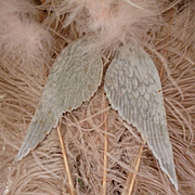 Heavenly pair grey velvet angel wings : doll projects : old milliners shop stock