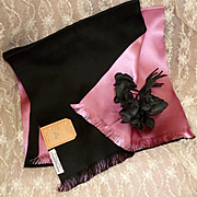 French pink and black silk fabric scarf : original label : Parisian soierie : 1900's : doll projects