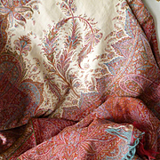 Beautiful large French Lyon Cashmere  : Paisley shawl : cream centre : monogram box : 67 x 140 inches