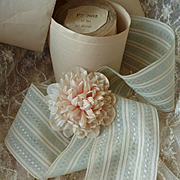 Pretty vintage French soft green and cream sheer ribbon : still on original packaging roll