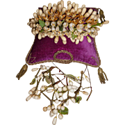 Delicious 19th C. French bride's wax wedding crown : tiara : headdress : small bud bouquets & garlands
