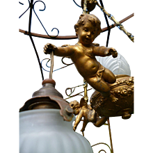 French  faded grandeur 3 cherub boudoir ceiling light : patinated spelter : circa 1920-30's