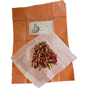 Superb French ruby rectangular paste stones :  old packaging : label : projects