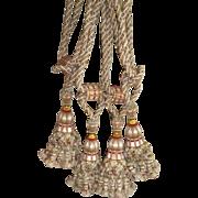 2 pairs splendid 19th C. French silk drape tassel tie backs : brick gold & green colors