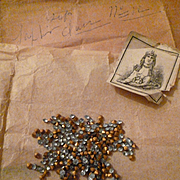 Batch French faux sapphire paste stones : old packaging :  label : projects
