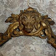 Decorative 19th C.  gilt wood pediment : hunting dog's head : horn : oak leaf : scroll motifs