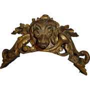 Decorative 19th C.  gilt wood pediment : hunting dog's head : horn : oak leaf : scroll motifs
