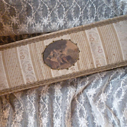 Faded grandeur French fabric covered boudoir box : romantic medallion :  circa 1900
