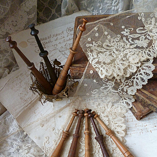 Decorative 19th C. French lace makers bobbins  : Bayeux : Caen : Normandy region ( 8 )