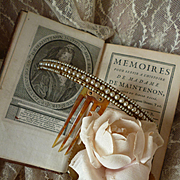 Pretty 19th C. French faux pearl hinged diadem : comb : hair ornament
