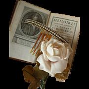 Pretty 19th C. French faux pearl hinged diadem : comb : hair ornament