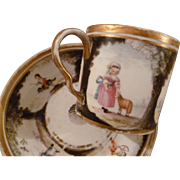 Enchanting  antique cup and saucer : hand painted scenes : children : dog : doves : cupid : sheep : love