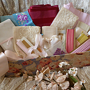French fabric covered boudoir box brimming with ribbons : lace and millinery flowers : doll projects