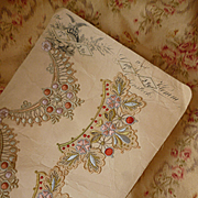 Delicious antique silk and silver metallic thread embroidery embellishment motifs on sample card