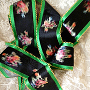 Striking old French black and green velvet and silk ribbon : colorful floral motifs : doll projects ( 76 inches long )