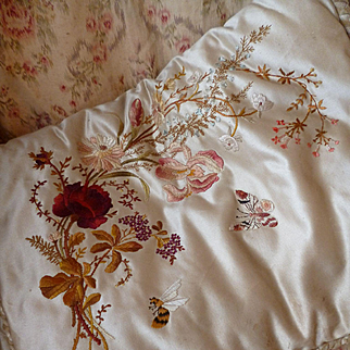 Delicious French satin boudoir case : hand embroidered floral bouquet : bee and butterfly motifs