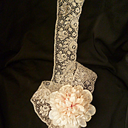 Delicious flounce unused French silver metallic thread lace : rose motifs: circa 1930's : 5 yards