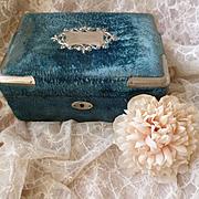 Faded grandeur antique French blue velvet boudoir box : padded silk lining : white metal embellishments