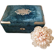 Faded grandeur antique French blue velvet boudoir box : padded silk lining : white metal embellishments