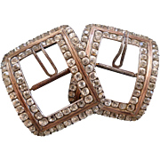 Superb Pair 18th C. French paste stone silver shoe buckles : Louis XVI period