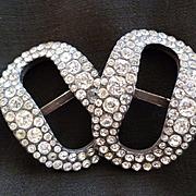 Sparkling pair of 18th C. silver shoe buckles set with cut paste stones : Louis XVI / Georgian period